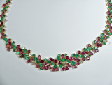 "61.00ct AAA+Fine ""Tutti Frutti"" Ruby Emerald & Diamond Necklac 18k Gold"
