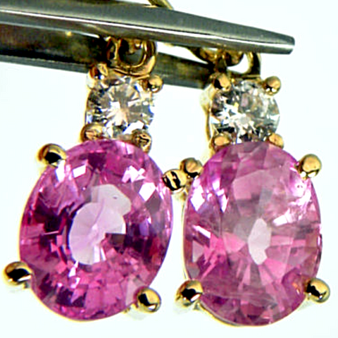7.20ct Natural Burma Pink Sapphire Diamond Dangle(studs?) Earrings 18k Gold