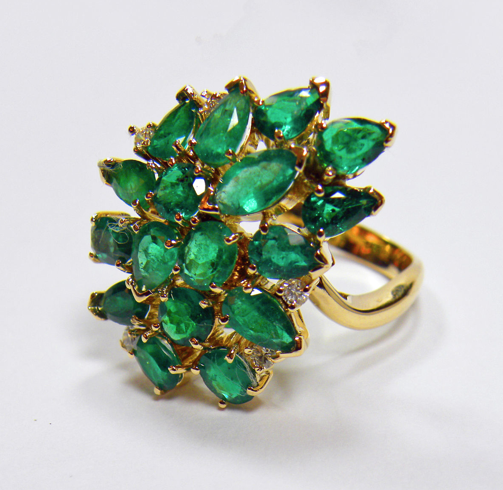 Authentic Colombian Emerald Cluster Cocktail Ring 18k