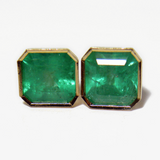 4.82ct Big Bright Green Square Natural Emerald Stud Earrings 18k Gold