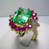 7.14ct EGL USA Certified Emerald Diamond & Ruby Cluster Cocktail Ring 18k