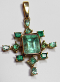 7.40 Ct Stunning Natural Colombian Emerald Pendant 14k Yellow Gold
