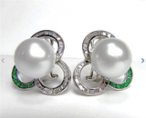 Designer 14mm White South Sea Cultured Pearl Diamond Emerald Huggie Earrings 18K
