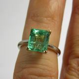 Estate 2.20cts Natural Colombian Emerald Solitaire Engagement Ring Platinum & 18K Gold