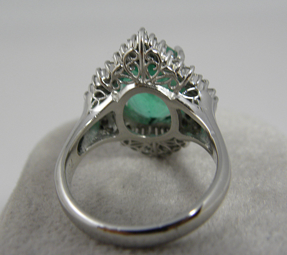 Cocktail Ring; Estate Platinum 581cts Natural Fine Colombian Emerald &  Diamond Cocktail