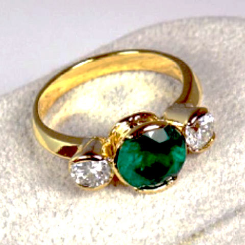 3.85ct Fine 3 Round Cut Colombian Emerald & Diamond Estate Engagement Ring 18k