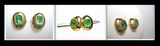 Natural Colombia Emerald Dome Earrings 18k Yellow Gold