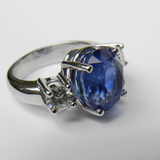GIA Certified 11.00CT Cornflower Blue Sapphire Diamond Engagement Ring Untreated 18K White Gold