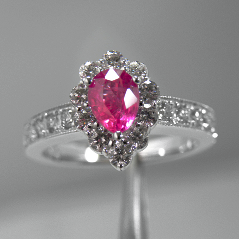 No Heat 2.31cts 100% Natural Ruby & Diamond Engagement Ring14k White Gold