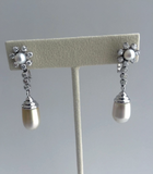 Retro 1940s Natural South Sea Pearl Diamond Drop Earrings Ear Clips 14K Gold