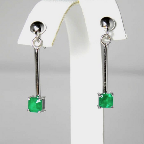 Square Colombia Emerald Dangle Earrings 18k White Gold
