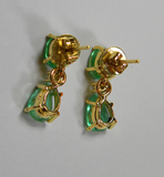 3.56ct Natural Colombian Emerald Diamond Dangle Earrings 18k Gold