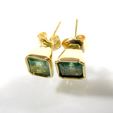 Natural 1.20ct Genuine Colombia Emerald Stud Earrings 18k Yellow Gold