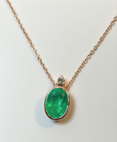 2.00cts Colombian Emerald Solitaire Pendant 18K Rose Gold 18 Inch Necklace