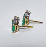 2.40ct Platinum & 18k Gold Natural Emerald Diamond Stud Earrings