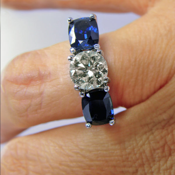 Estate 5.20ct Diamond & Natural Blue Sapphire Engagement Ring 18k White Gold