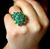 4.75cts Natural Colombian Emerald Cluster Cocktail Ring 18K Gold