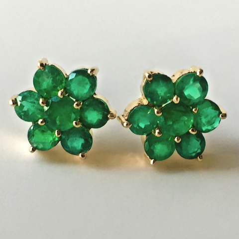 1.80ct  Art Deco Style Emerald Gold Daisy Cluster Stud Earrings 18K