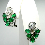 2.50ct Fabulous Diamond Emerald Cocktail Cluster Earrings 18k White Gold