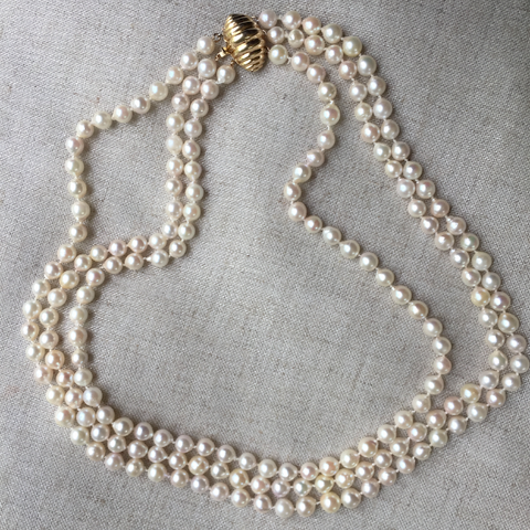 Estate Triple Strand Akoya Pearl Necklace 14k Yellow Gold Clasp