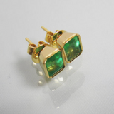 2.63ct AAA Natural Green Colombian Emerald Studs Earrings 18K Yellow Gold