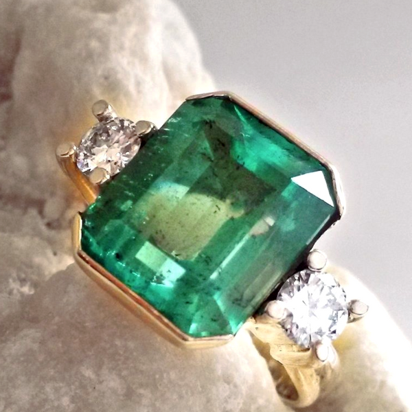 7 35ct AAA Natural Colombian Emerald Diamond Ring 18K Yellow Gold