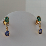 4.55ct Colombian Emerald Tanzanite and Diamond Dangle Earrings 18K Gold