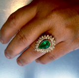 8.00ct Colombian Natural Emerald & Diamonds Cocktail Ring Solid 18K Gold