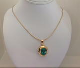 8.10ct Fine AAA Colombian Green Emerald Solitare Pendant Necklace 18K