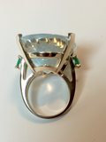 57.40cts Aquamarine Emerald Vintage Cocktail Ring 14k Gold