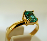 0.75ct Natural Colombian AAA Emerald Solitaire Ring 18K Yellow Gold