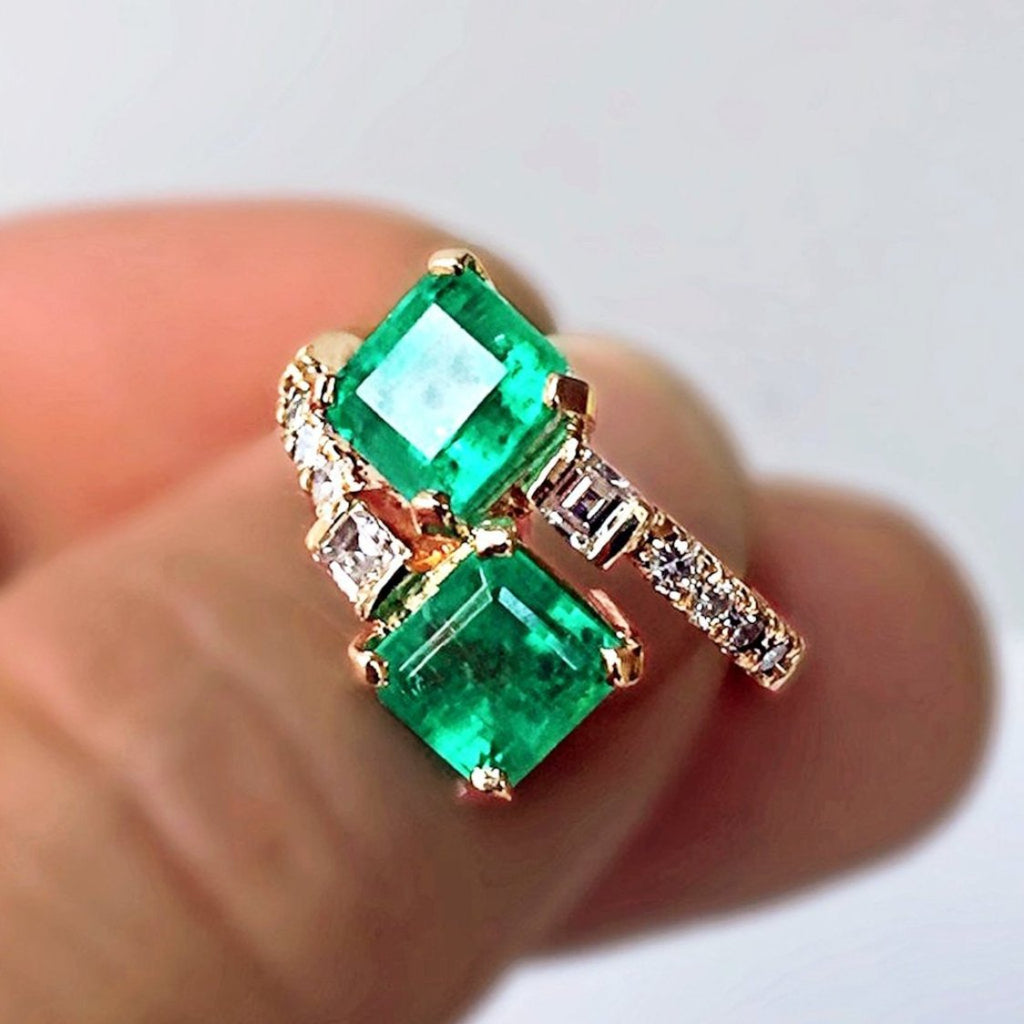 Bypass Ring With Natural Fine 100 Colombian Emerald