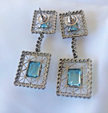 Estate Aquamarine & Diamonds Dangle Earrings 18K White Gold