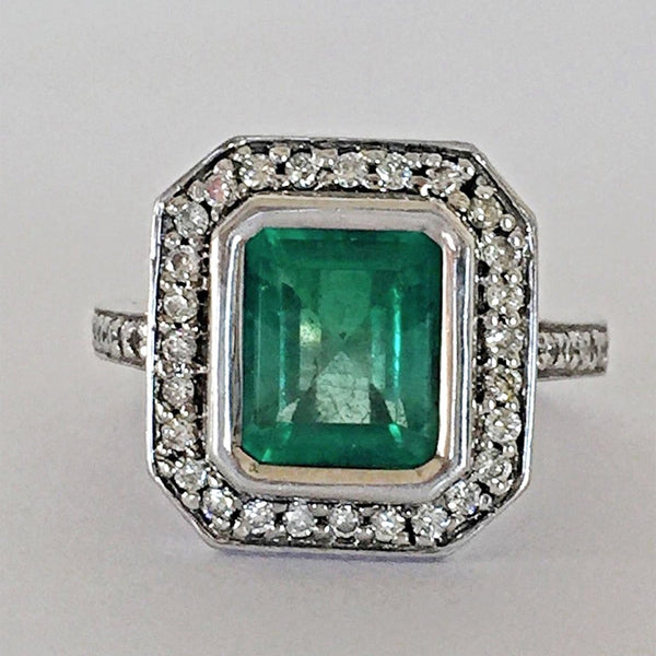 Estate Natural Colombian Emerald Diamond Ring 14K White Gold