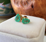 2.80ct 100% Natural Colombian Emerald Stud Earrings 18k Yellow Gold