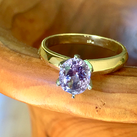 1.65ct Estate Vintage Lilac Sapphire Solitaire Ring Platinum & 18K Gold