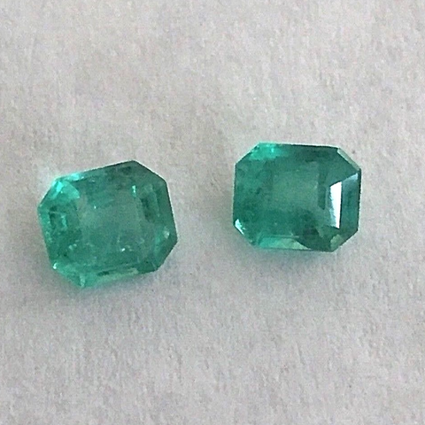 1.78ct Genuine Matching Pair Oval Natural Colombian Emerald Loose Stones