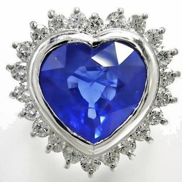 6.35ct Burmese TGL Certificate  Blue Sapphire Diamond Ring 18k White Gold
