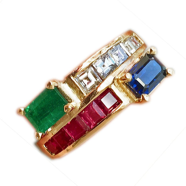 Estate Twin 3.0ct Vintage Diamond, Ruby Emerald & Sapphire Bypass Ring 18K