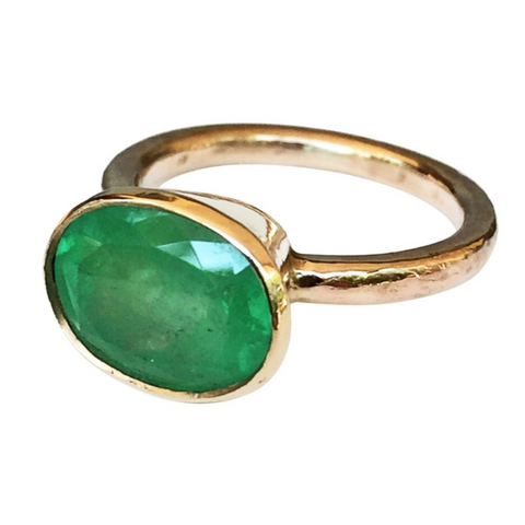 Rare Hammered Yellow Gold Emerald Ring BIG 4.80ct Oval Natural Colombian Emerald