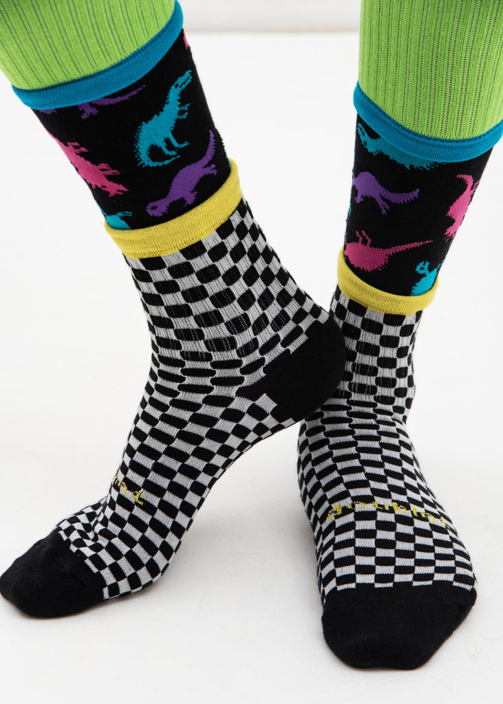 Black 3 Layered Checker Flag Socks