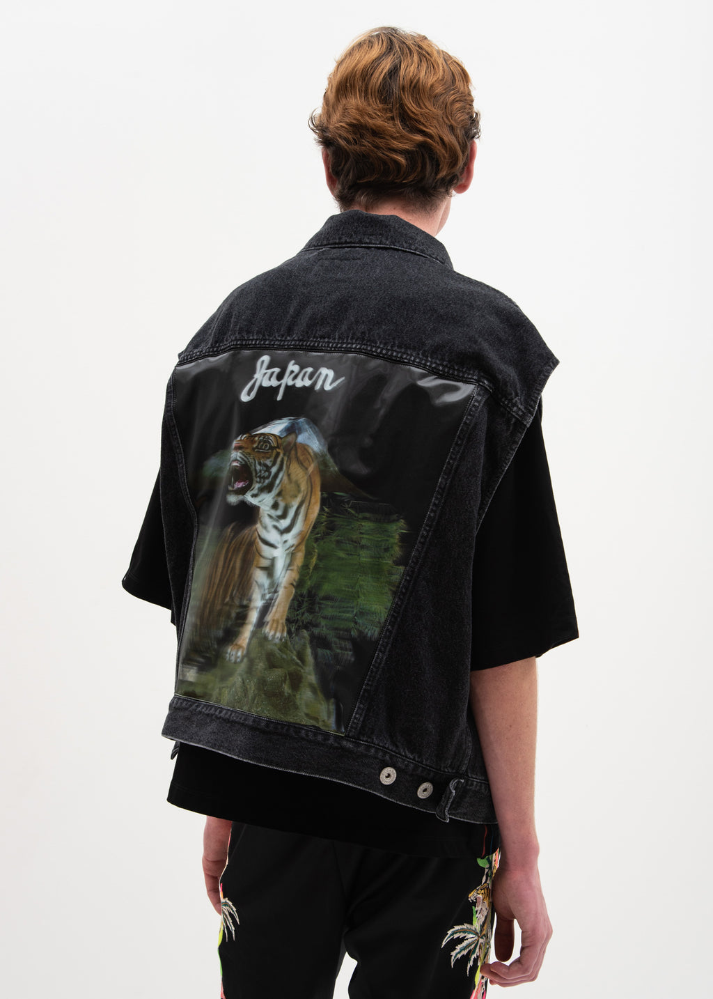 Black 3D Tiger Silk Denim Vest