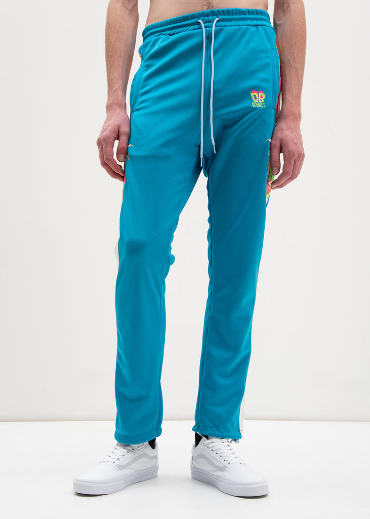 Doublet, Light Blue Chaos Embroidery Track Pants, 017 Shop