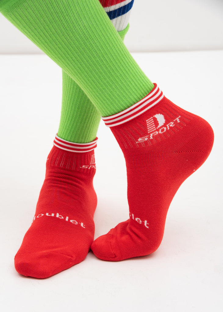 Red 3 Layered Sports Socks