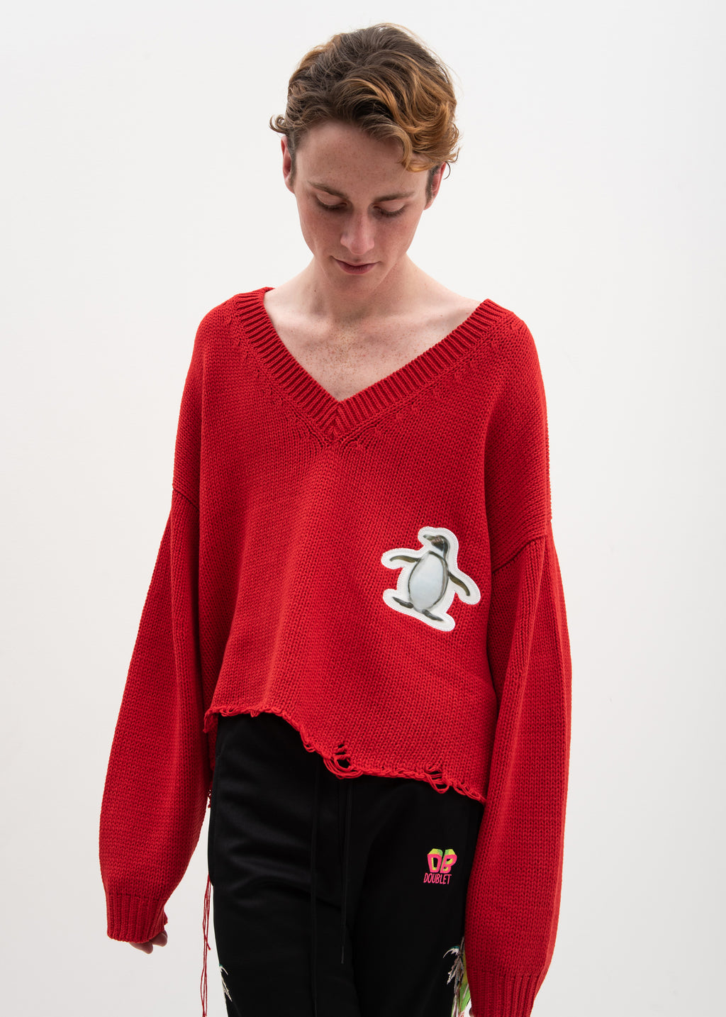 Red 3D Patch Cut Off Sweater