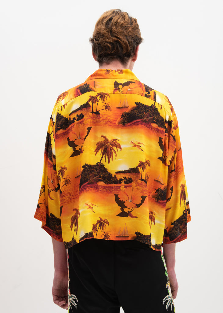 Sunset Neon Embroidery Aloha Shirt
