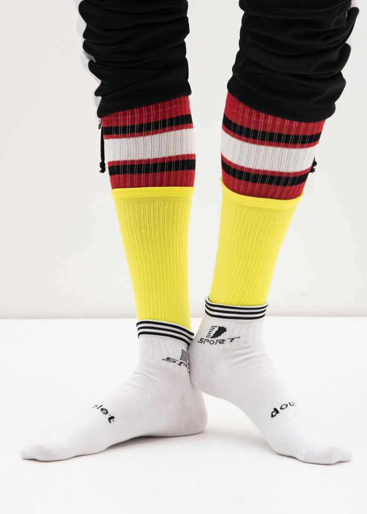Doublet, White 3 Layered Sports Socks, 017 Shop