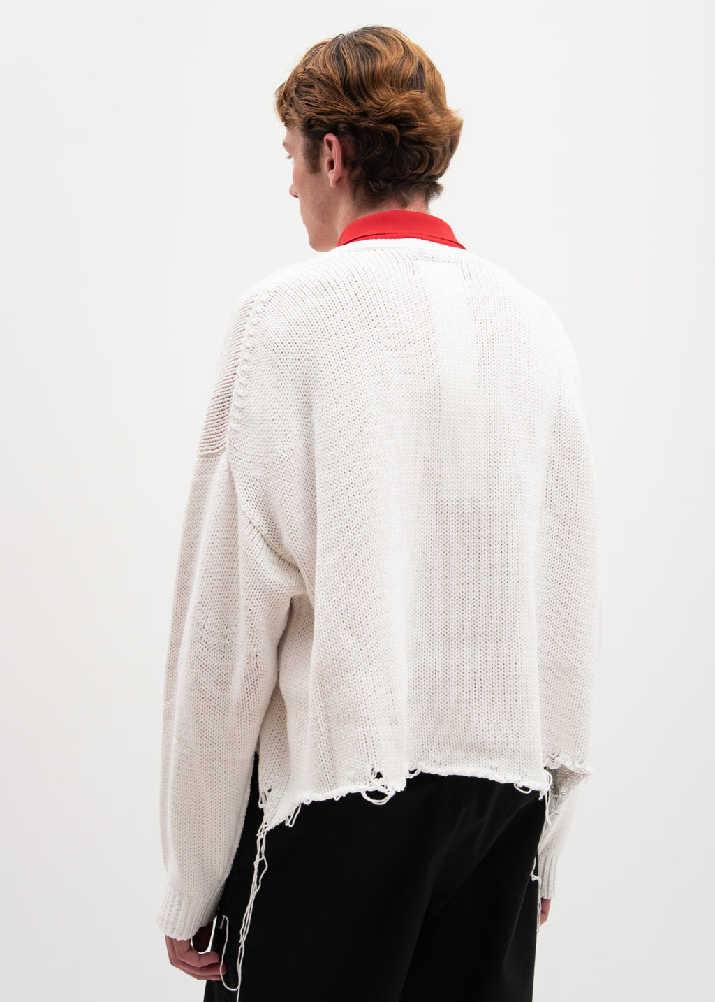 White 3D Patch Cut Off Cardigan