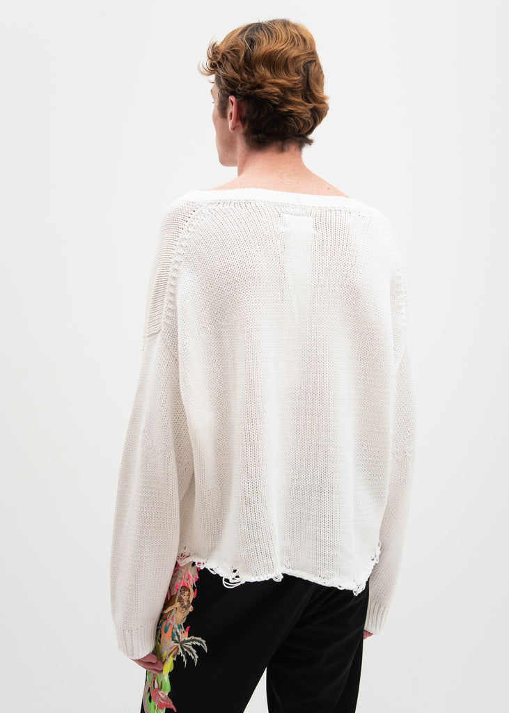 White 3D Patch Cut Off Sweater