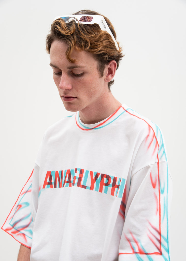 White Anaglyph Hand-Painted T-Shirt